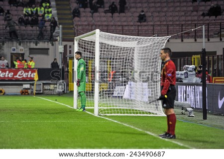 MILANO, ITALY-NOVEMBER 27, 2014: referee assistant on the goalpost line at san siro stadium during UEFA  cup soccer match FC Internazionale vs Dnipro, in Milan. - stock photo