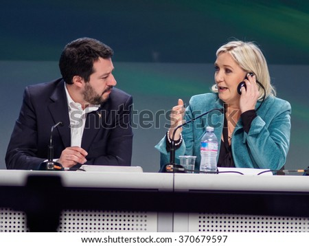 MILANO, JANUARY 29, 2016: President of the National Front, Marine Le Pen and secretary of Northern League, Matteo Salvini, during the closing press conference of the first ENF congress in Milan. - stock photo