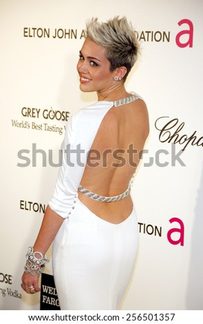 Miley Cyrus at the 21st Annual Elton John AIDS Foundation Academy Awards Viewing Party held at the Pacific Design Center in Los Angeles, United States, 240213.  - stock photo