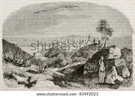 Miliana old view, Algeria. By unidentified author, published on Magasin Pittoresque, Paris, 1840 - stock photo