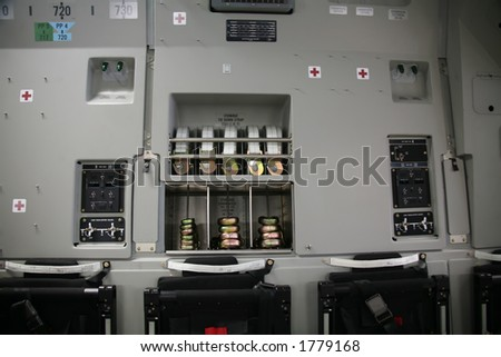 Military Aircraft C-17 Inside Panel - stock photo