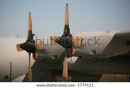 Military Aircraft Cargo Plane Engine Blades - stock photo