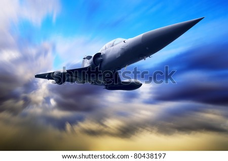 Military airplane on the speed - stock photo