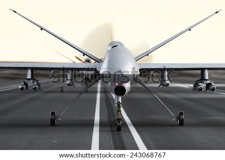 Military armed UAV drones preparing for takeoff on a runway. Photo realistic 3d model scene. - stock photo