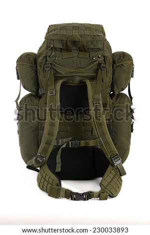 Military backpack isolated on white. Big size. Back view. - stock photo
