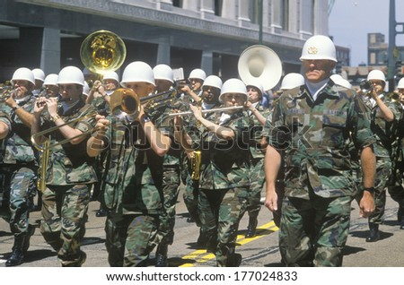 Military Band Marching in the United States Army Parade, Chicago, Illinois - stock photo