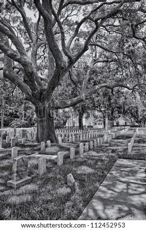 Military cemetery.  National Guard Armory.  St. Augustine, FL, USA. - stock photo