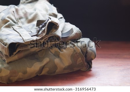Military clothes close up - stock photo