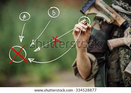 Military concept, soldier drawing the battle map - stock photo
