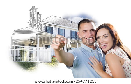 Military Couple with Keys Over House Drawing and Photo Combination on White. - stock photo