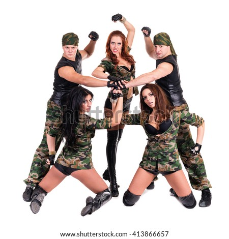 military dancer team dressed in camouflage costumes - stock photo