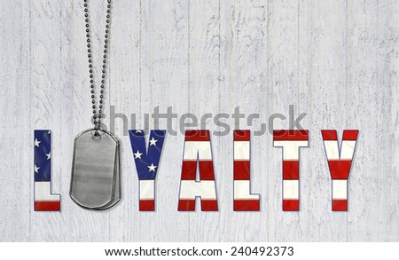 military dog tags with flag font for patriotic loyalty on weathered wood background - stock photo