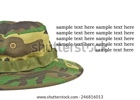 Military equipment - camouflage hat part of the battle attire of the armed forces - stock photo