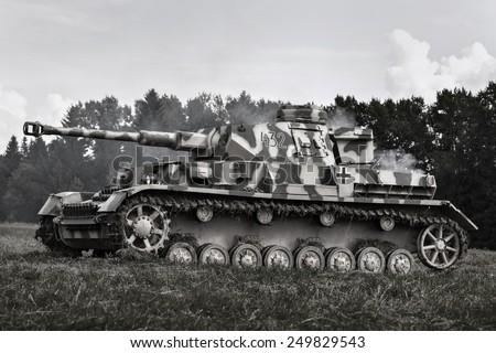 Military equipment since World War II. German tank. - stock photo