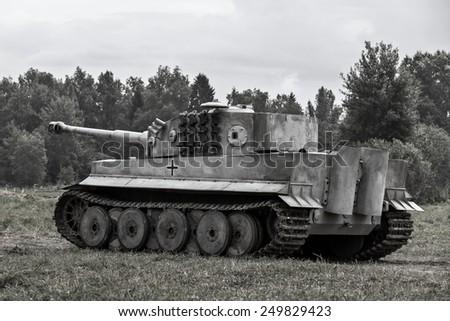 Military equipment since World War II. German tank. Tigr - stock photo