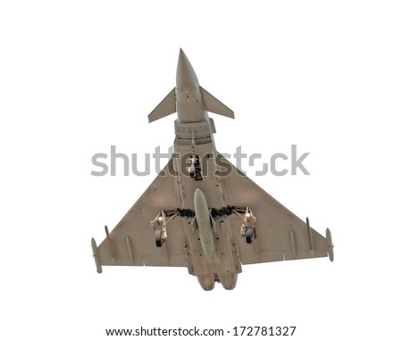 military fighter jet isolated on white - stock photo