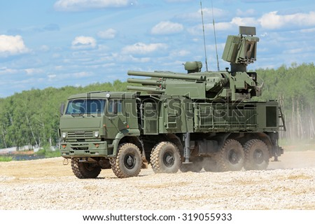 MILITARY GROUND ALABINO, RUSSIA - JUN 18, 2015: Pantsir-S1 (SA-22 Greyhound) is a combined surface-to-air missile and anti-aircraft artillery at the International military-technical forum ARMY-2015 - stock photo