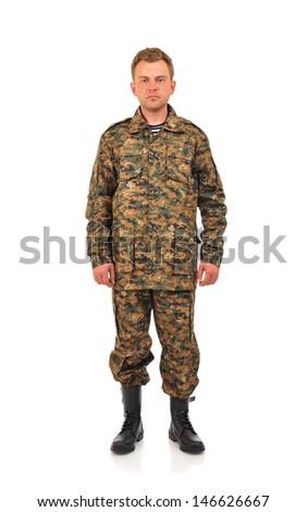 Military Man isolated on white - stock photo