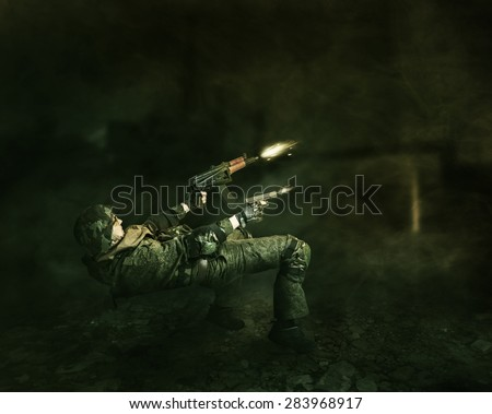 Military man warrior evades from a shot and shoots from two hands from the gun and the machine gun - stock photo