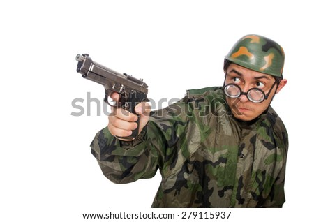 Military man with a gun isolated on white - stock photo