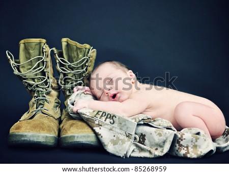 Military Newborn Baby - stock photo