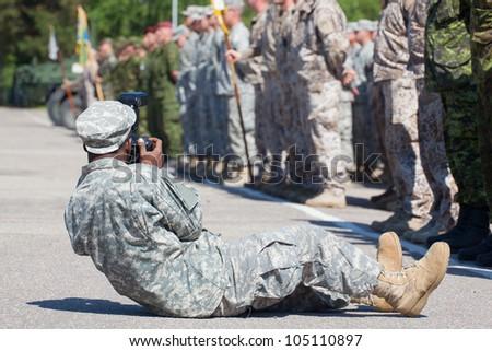 military photographer - stock photo