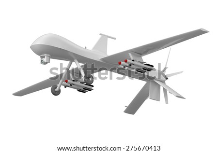 Military Predator Drone isolated on  white background - stock photo
