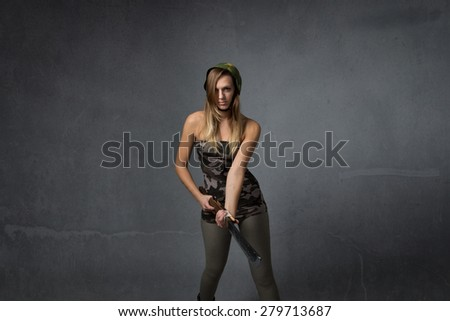 military ready for fight, dark background - stock photo