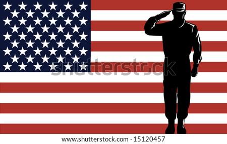 Military service man and flag - stock photo