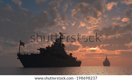 Military ship in the sea at sunset. - stock photo