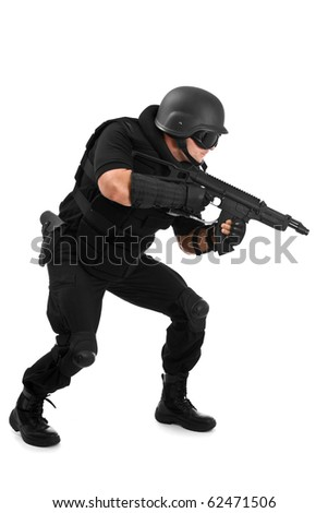 military soldier about to shoot - stock photo