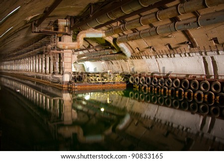 Military submarine repair dockage since the USSR, tonel Balaklava - stock photo