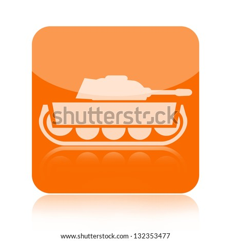 Military tank icon - stock photo