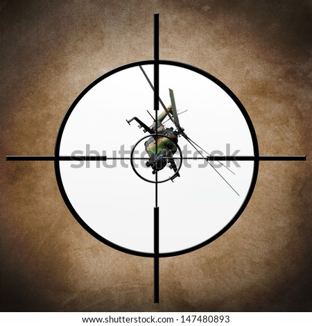Military target on helicopter - stock photo