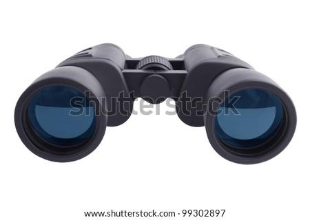 Military telescopic binoculars on a white background - stock photo