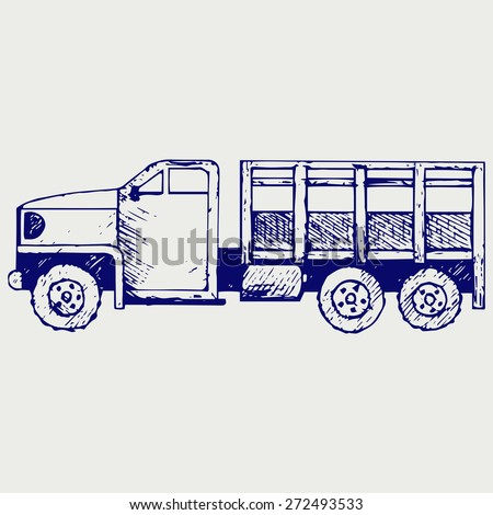 Military truck. Doodle style. Raster version - stock photo