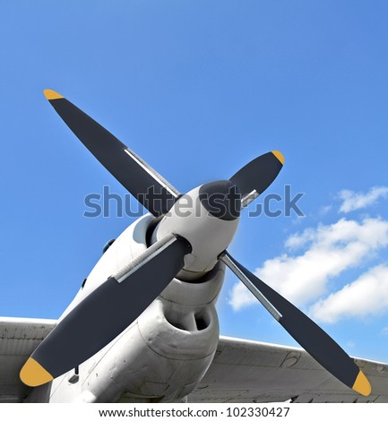 Military turboprop aircraft engine, close up - stock photo
