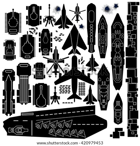 Military Vehicle, Plane and Boats Silhouettes. Top Down Icons for Map and Game Design - stock photo