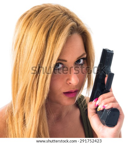 military woman with a gun - stock photo