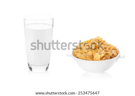 Milk and corn flakes isolated on white background - stock photo