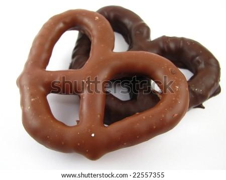 Milk and Dark Chocolate Covered Pretzels - stock photo
