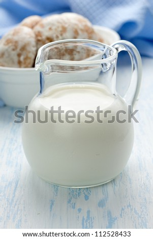 Milk and gingerbread - stock photo