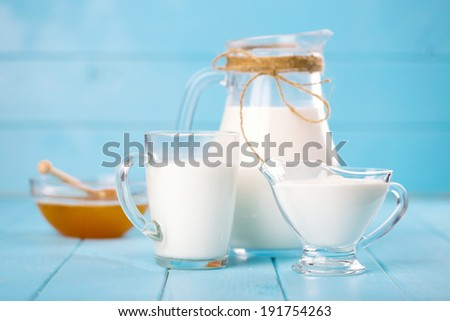 milk and honey for breakfast - stock photo