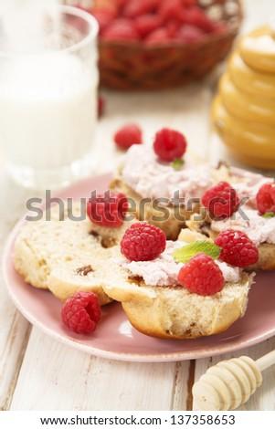 Milk and toast with honey - stock photo