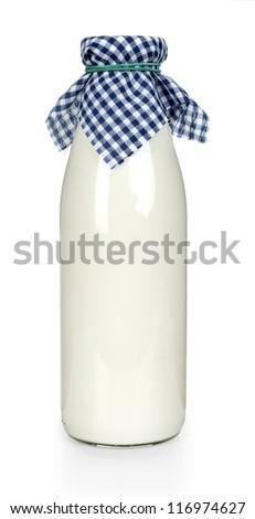 Milk bottle. Isolated on white background - stock photo