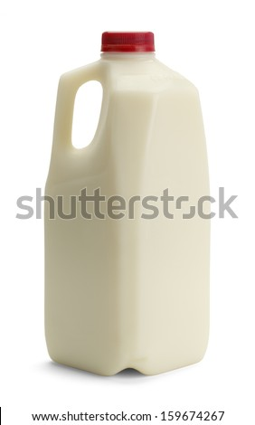 Milk Bottle with Red Cap Isolated on White Background. - stock photo