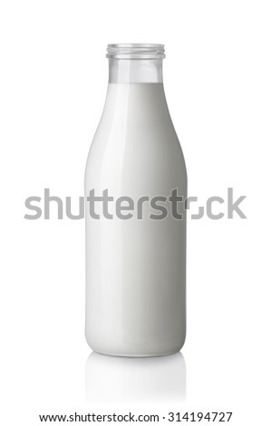 milk bottle without a cap isolated on white background - stock photo