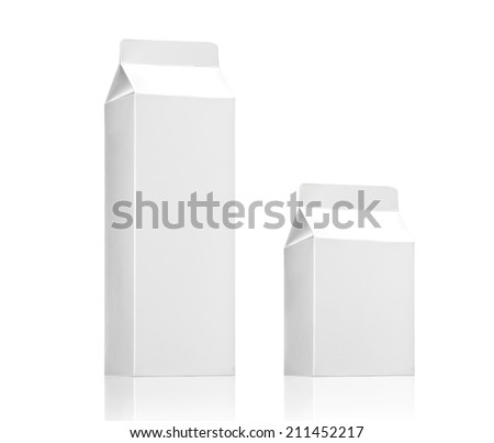 Milk box or juice box pack - Realistic photo image, Blank White Carton package of beverage diary products isolated on white background - stock photo