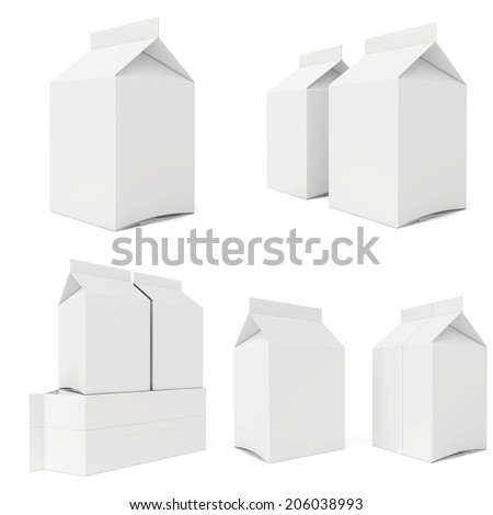 Milk cartons isolated on white background. 3d render. - stock photo