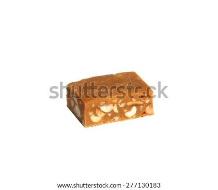 Milk chocolate macadamia, Chocolate chunk crispy cookies with nuts on white background - stock photo
